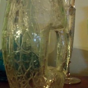 1900's Art Nouveau Koloman Moser Loetz Crackle Glass Pitcher/Jug