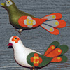Pair Early 1970s Peace Dove Christmas Tree Ornaments