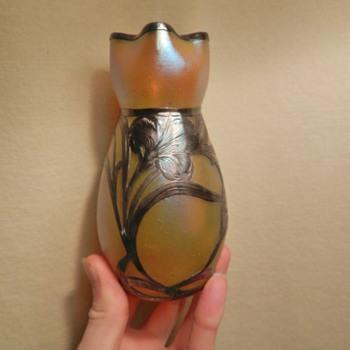 Loetz? Sterling Silver Overlay - Aurene Glass - Art Glass