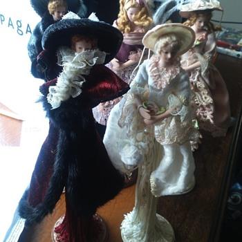 Porcelain Dolls on stands - Dolls