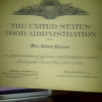 signed herbert hoover n howard heinz food aadministration letter  - Military and Wartime
