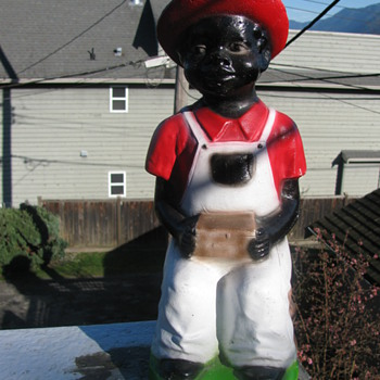 Large Black Chalk Ware Figure - Figurines
