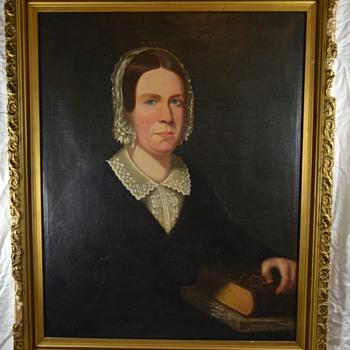 Antique Portrait Painting of Shaker or Quaker Woman with Bonnet New England - Fine Art