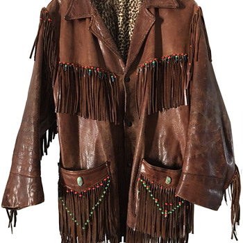 Authentic 1960's Haight-Ashbury Hippie Fringe Beaded Leather Jacket - Womens Clothing
