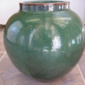 Green Glaze Studio Pottery Jar Pot