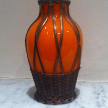 Metal cased Czech orange tango vase - information or links welcome - Art Glass