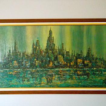 Brittini Sofa Print Abstract Cityscape