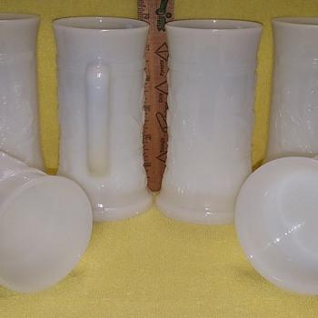 Set of 6 Embossed Milk Glass Stein/Mugs - Glassware