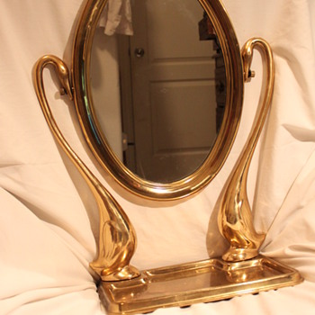 Antique Brass Swans Swivel Mirror & Tray - Furniture