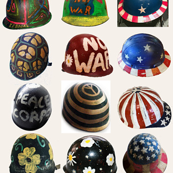 Original Hand Painted Hippie Protest Helmets - Politics