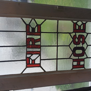 Vintage fire hose cabinet stained glass door - Art Glass