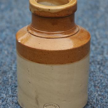 ---Civil War Tan and White Mustard Jar---