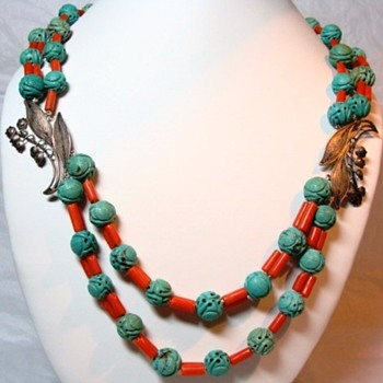 Chinese Coral and Turquoise Necklace - Fine Jewelry