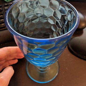 Inverted honeycomb blue water goblet - Glassware