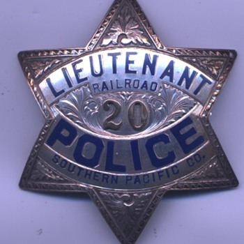 engraved sterling silver Southern Pacific Railroad Police Lieutenant star badge - Railroadiana