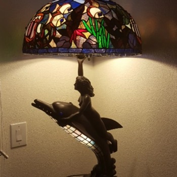 Tiffany Style Maiden Riding Dolphin Lamp