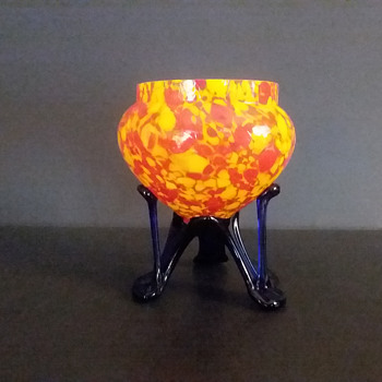 Czechoslovakian three legged vase - Art Glass