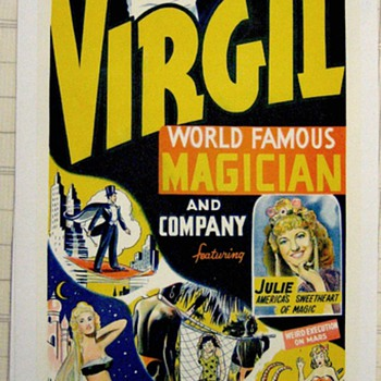 "Original ""Virgil World Famous Magician"" Lithograph Poster"