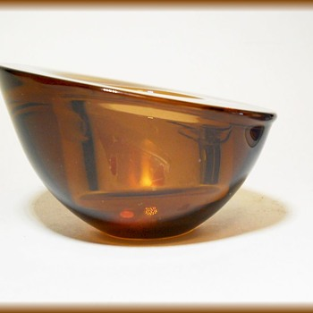 ORREFORS ( Sweden ) - AMBER GLASS SMALL GEODE BOWL  - Art Glass