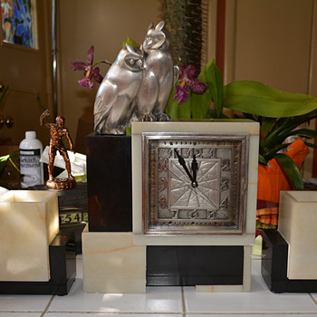 1929 Black and White Marble Leon Hatot ATO Clock with Pewter Plated Owl Finial  - Clocks