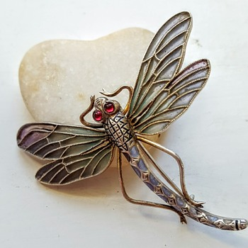 Plique à jour enamel dragonfly brooch, mark to find... - Fine Jewelry