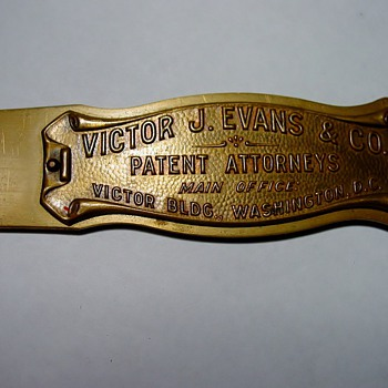 Brass letter opener - Victor J. Evans & Co.  - Office