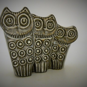 "Sweden pottery""3 Owls"", 20 Century - Animals"