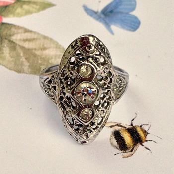 Art Deco Uncas Sterling & Rhinestone Ring - Fine Jewelry