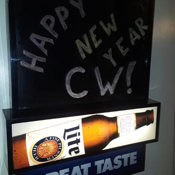 MILLER LITE BEER 'illuminated chalkboard' sign - Advertising