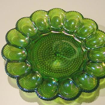 Antique?  Green Glass Plate / Dish - Glassware