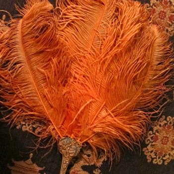 Belle Epoque ? Exquisite Hand Fan with silk pouch purse orange ostrich feathers - Accessories