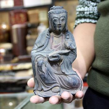 old china Buddhism temple red copper GuanYin Bodhisattva Buddha statue antique - Asian