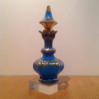 BOHEMIAN BLUE OPALINE GILT PERFUME BOTTLE - Art Glass