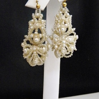 Antique Victorian Seed Pearl Pendant Earrings 15k - Fine Jewelry