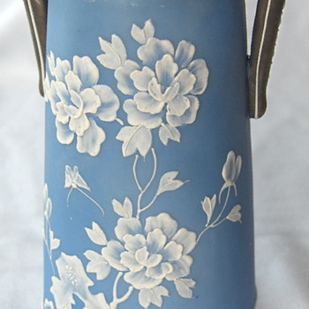Beautiful white enamel motif on blue background, antique from Japan. - Asian
