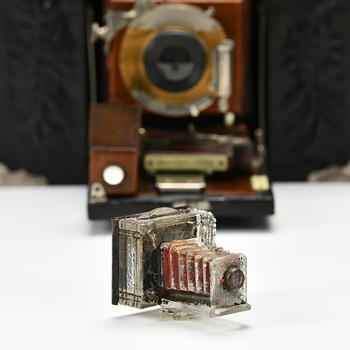 Glass Camera Candy Container. c1913 - Advertising