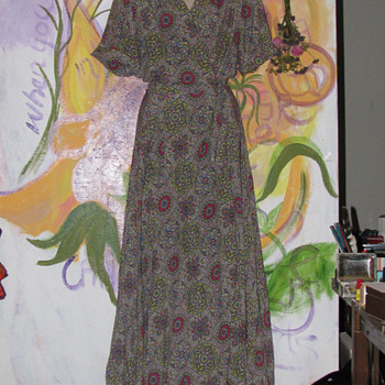 1940's Bias Cut Wrap  House Dress Incredible Fabric