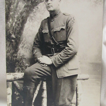 "WWI U.S. Army Officer 1st Infantry division with ""wound stripe"" RPPC"