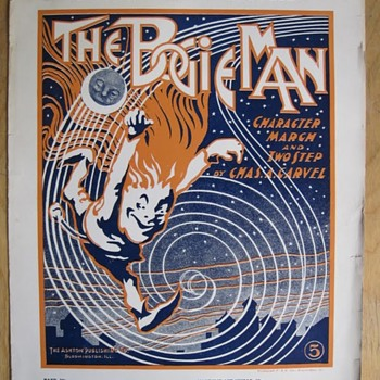 1903, Terrific Unsigned art For The Date. Boogie Man, Bloomington,IL. - Music Memorabilia