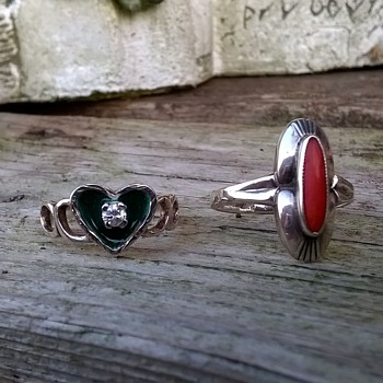 Two Nice Silver Rings With Close Up Of Silver Marks (Heart Ring)