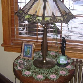 Bradley & Hubbard Slag Glass Lamp
