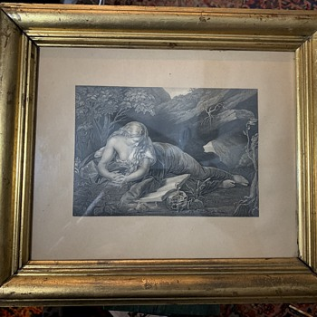 Another old Etching or Print in a Lemon-gilded Frame - Fine Art