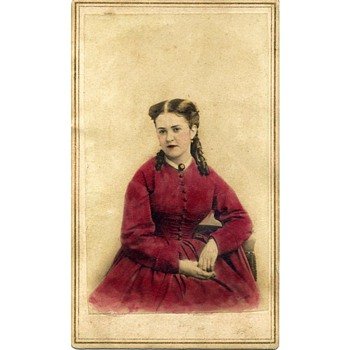 CDV of Woman in a Scarlet Dress – Brady's National Portrait Gallery (now identified after 4 years!) - Photographs