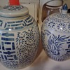 2 antique ginger jars blue and white