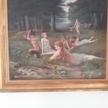 1921 oil on canvas mythical can't read signature - Fine Art