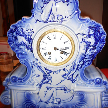 large porcelain NUDE clock (French?)