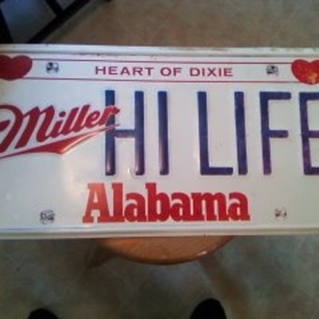 Miller high life tin sign (Alabama Theme).2FT BY FT AND HALF