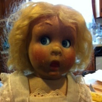 antique doll w/ glass eyes - no visible markings
