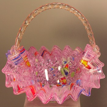 "Glass Basket - Pink - Ruffled - 7 3/4""  - Art Glass"
