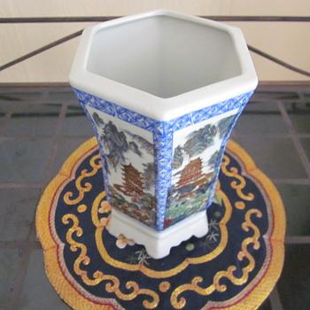 Chinese Rectangular Vase Pot 6 paneled 6 footed - Pottery
